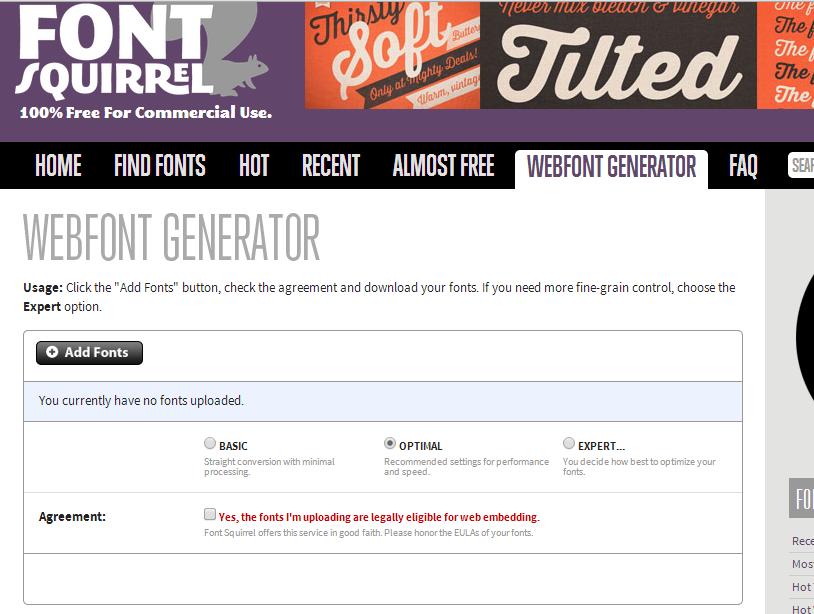 Screenshot of the FontSquirrel Web Font Genarator.