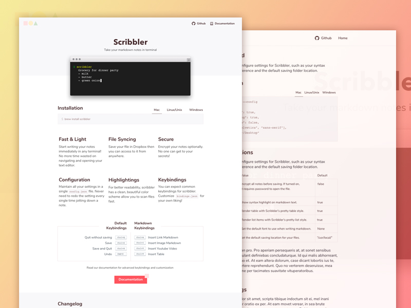 "Freebie: ""Scribbler"" Website Template (HTML, Sketch) 