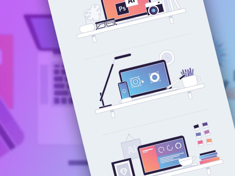 Designer Workspace Illustrations